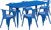 31.5 X 63 Rectangular Blue Metal Indoor-outdoor Table Set With 6 Arm Chairs