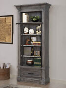Gramercy Park Rustic 42 Museum Bookcase In Vintage Burnished Smoke Finish