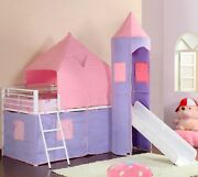 Olivia Casual Pink And Purple Princess Design Twin Loft Bed With Tent