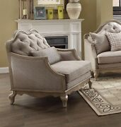 Lichfield Beige Button-tufted Fabric Chair Antique Taupe Finish Brown