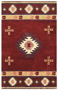 Southwest Soft Wool Cotton Area Rug 12 X 15and039red Tan Green Brown Navy Blue Tribal