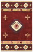 Southwest Soft Wool Cotton Area Rug 10 X 14and039red Tan Green Brown Navy Blue Tribal