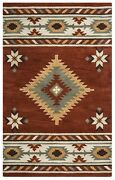 Southwest Soft Wool Cotton Area Rug 10 X 14and039 Brown Navy Blue Green White Tribal