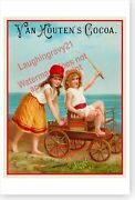 Children With Fishing Poles In Wagon Van Houtens Cocoa Retro Victorian Poster