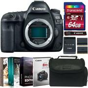 Canon Eos 5d Mark Iv Dslr Camera Body + Accessory Kit + Replacement Battery