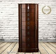 Large Jewelry Box Stand Floor Solid Wood Chest 8 Drawer Organizer Luxury Armoire