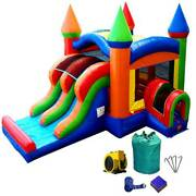Commercial Bounce House Combo Inflatable Slide With Blower Rainbow Blow Up Slide