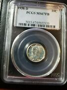 1938 D Mercury Dime 10c Coin - Certified Pcgs Ms 67 Full Bands- Awesome Coin