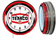 Texaco Gas 19 Double Neon Clock Man Cave Bar Garage Red Neon Gas Station Oil