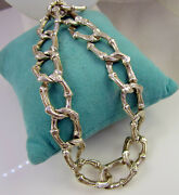 And Co Vintage 1996 Rare Stunning Sterling Silver Bamboo Toggle Necklace