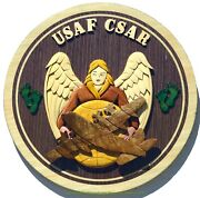Air Force Combat Search And Rescue Emblem Csar Pj Handcrafted Wood Art Plaque