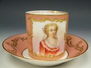 Lovely Limoges Hand Painted Portrait With Raised Gold Coral Tea Cup And Saucer