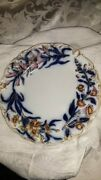 Flow Blue Polychrome Plate By Charles Meigh-rare Pink Colors