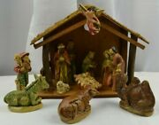 Vtg Manger Stable And 12 Figurines Made In Japan Composite Detailed Hollow Mold