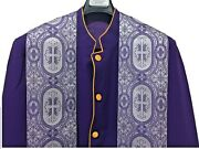 Cassock Clergy Robe Pastor Robe Minister Robe In Purple Violet With Stole