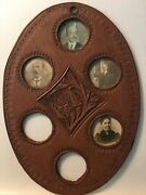 Antique Photographs In Leather Frame Family Photo's Set 4 Photos In Oval Frame