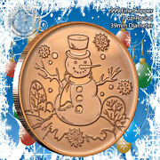 Snowman Christmas Design 1oz .999 Copper Round Eagle Back Limited And Rare