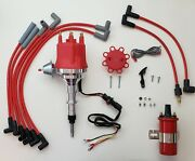 Small Cap Chevy Inline 6 230 250 292 Hei Distributor + 45k Coil + Red 8mm Wires
