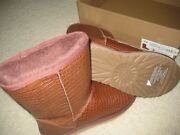 New Ugg Australia Classic Short Croco Spice Brown Boots Womens Size 7