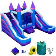 Inflatable Water Slide Splash Pool Dual Lane Pink Bounce House Combo With Blower
