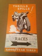 Unique 1930`s Goodyear Tire Racing Poster W/autographs From Indian Day 1986