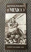 Vintage 1955 National Railways Of Mexico Timetable / Schedule Brochure