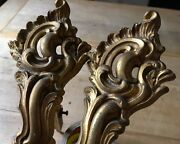 Antique Curtain Pole Supports Brackets French Solid Brass Gilt Rococo Salvage