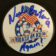 Neal Broten Autographed 1980 Miracle On Ice Usa Puck Again 9/80 Herb Brooks
