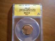Off Center And Clip Lincoln Memorial Cent Mint Error Anacs Ms63 Red
