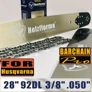28 Guide Bar Saw Chain Combo 3/8 .050 92dl For Husqvarna 61 66 262 Xp 266 268