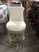 Frontgate Ellison Swivel Bar 30 Seat Height Stool Chair Kitchen Cream Fabric