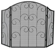 Uniflame 3 Panel Black Wrought Iron Screen With Decorative Scroll - 35 X 52