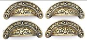 4 Antique Vtg. Style Victorian Brass Apothecary Bin Pulls Handles 3 Cntr. A5