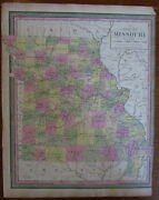 Missouri State By Itself St. Louis Springfield 1847 Mitchell Scarce Antique Map