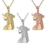 Solid Yellow White Rose Gold Egyptian Queen Cleopatra Crown Pendant Necklace