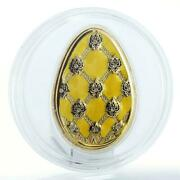 Cook Islands 5 Dollars Imperial Eggs In Cloisonne Egg In Yellow Silver 2010