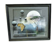 Original Signed J Kugler Painting Abstract Illusionism African Marula Trees