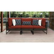 Barcelona 3 Piece Wicker Patio Furniture Set 03c In Brown And Terracotta