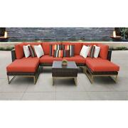 Amalfi 7 Piece Wicker Patio Furniture Set 07a In Gold And Tangerine