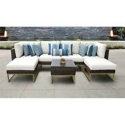 Amalfi 7 Piece Wicker Patio Furniture Set 07a In Gold And White