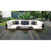 Barcelona 7 Piece Outdoor Wicker Patio Furniture Set 07c In Sail White