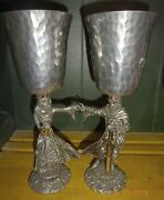 King Arthur And Queen Guinevere Pewter Wine Goblets Wedding Engagement Chalices
