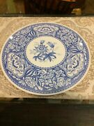Vintage Spode Blue Room Floral Rose Cake Plate Blue White China Size 11andrdquo