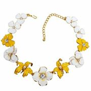 Kjl Kenneth Jay Lane Flower Necklace Yellow White Enamel Faux Pearl And Crystals