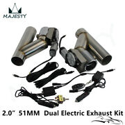 2 Dual Electric Exhaust Cutout Dump Bypass Valve W/wireless Andswitch Control Kit