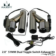 2 Dual Electric Exhaust Cutout Downpipe Dump Bypass Valve W/ Switch Control Kit