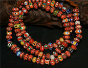 Real Old Antique African Trade Glass Beads Chevron Necklace Chain Venetian Tibet