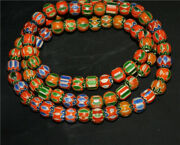 Real Old Antique African Trade Glass Beads Chevron Necklace Africa Venetian