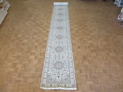 2and03910 X 25and0395 Runner Hand Knotted Ivory Persian Nain With Silk Oriental Rug G6755