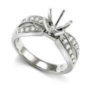 Solid 10k White Gold .30 Cwt Diamond Ring Setting Mounting Size 4 To 9.5 R1706